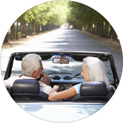 retired couple on drive